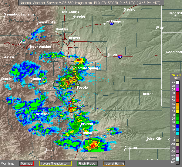 Radar Image for Severe Thunderstorms near Pueblo West, CO at 7/15/2020 3:49 PM MDT