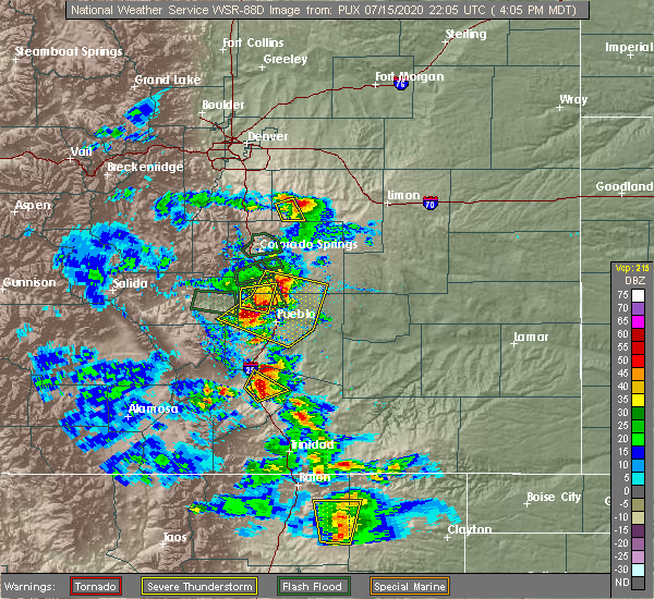 Radar Image for Severe Thunderstorms near Pueblo West, CO at 7/15/2020 4:09 PM MDT