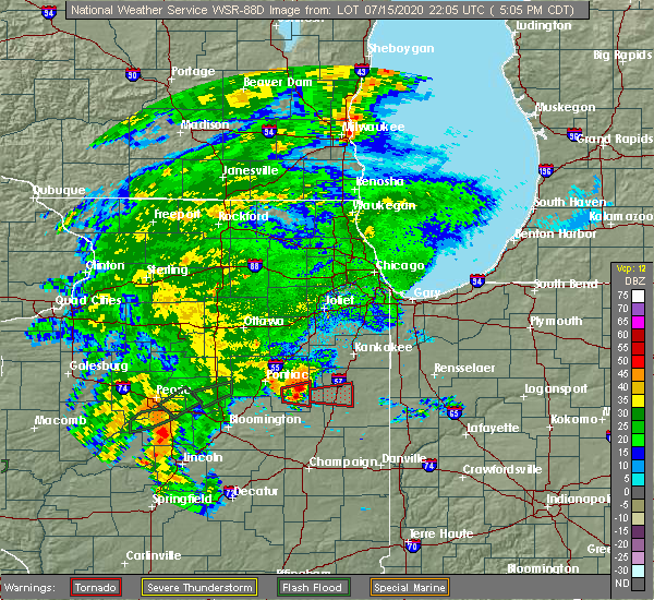 Radar Image for Severe Thunderstorms near Gilman, IL at 7/15/2020 5:14 PM CDT