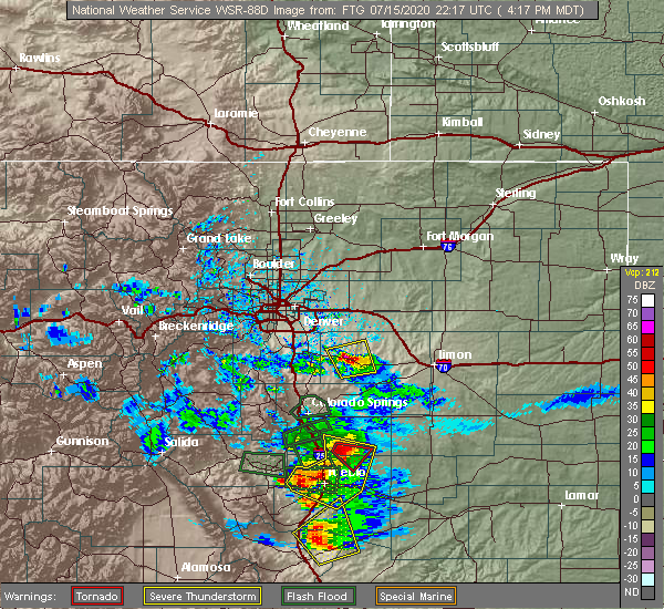 Radar Image for Severe Thunderstorms near Kiowa, CO at 7/15/2020 4:24 PM MDT