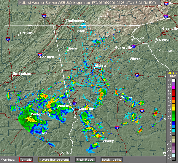 Radar Image for Severe Thunderstorms near Concord, GA at 7/15/2020 6:34 PM EDT
