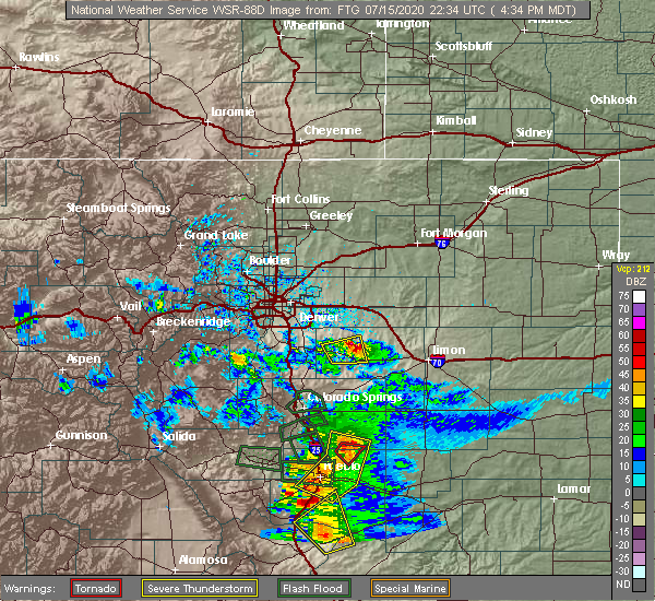 Radar Image for Severe Thunderstorms near Kiowa, CO at 7/15/2020 4:38 PM MDT