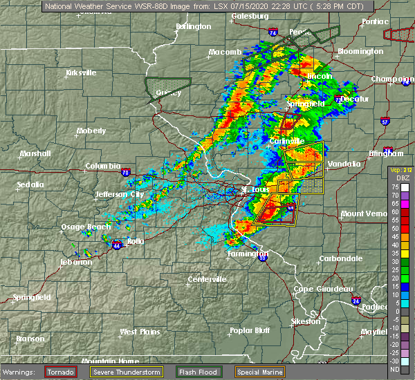 Radar Image for Severe Thunderstorms near Venedy, IL at 7/15/2020 5:37 PM CDT