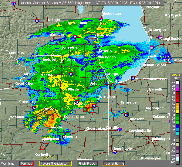 Radar Image for Severe Thunderstorms near Gilman, IL at 7/15/2020 5:37 PM CDT