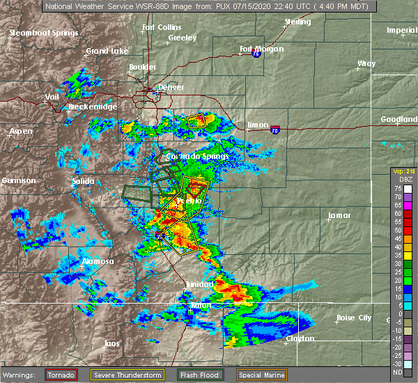 Radar Image for Severe Thunderstorms near Pueblo West, CO at 7/15/2020 4:53 PM MDT