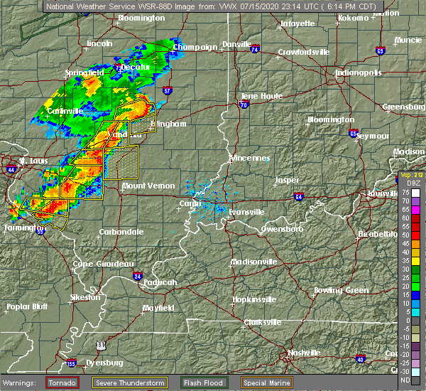 Radar Image for Severe Thunderstorms near Sandoval, IL at 7/15/2020 6:16 PM CDT