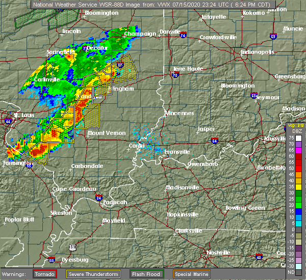 Radar Image for Severe Thunderstorms near Sigel, IL at 7/15/2020 6:34 PM CDT