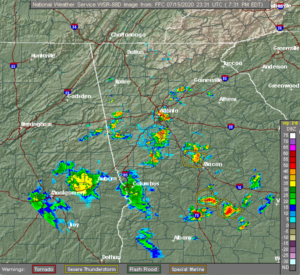 Radar Image for Severe Thunderstorms near Haralson, GA at 7/15/2020 7:36 PM EDT