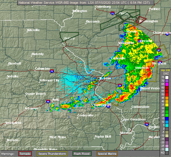 Radar Image for Severe Thunderstorms near Percy, IL at 7/15/2020 6:57 PM CDT