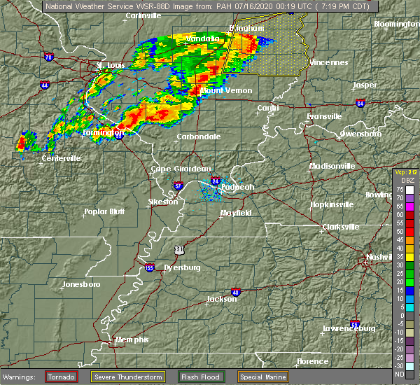 Radar Image for Severe Thunderstorms near Chester, IL at 7/15/2020 7:27 PM CDT