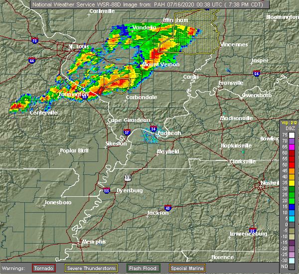 Radar Image for Severe Thunderstorms near Murphysboro, IL at 7/15/2020 7:43 PM CDT