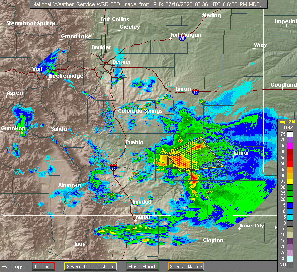 Radar Image for Severe Thunderstorms near North La Junta, CO at 7/15/2020 6:45 PM MDT