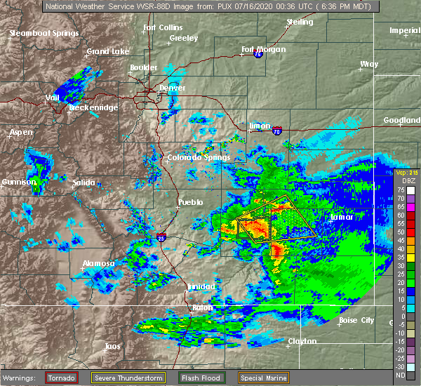 Radar Image for Severe Thunderstorms near North La Junta, CO at 7/15/2020 6:46 PM MDT
