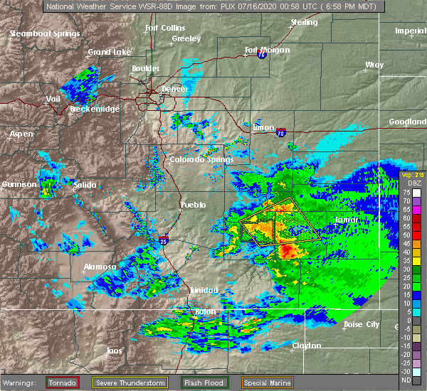 Radar Image for Severe Thunderstorms near North La Junta, CO at 7/15/2020 7:01 PM MDT