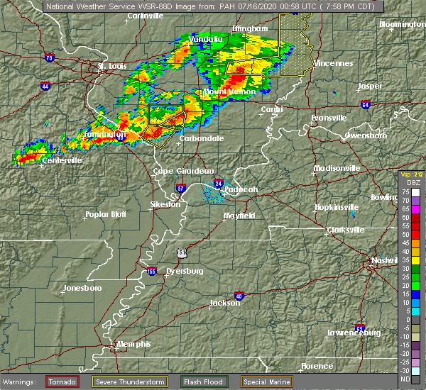 Radar Image for Severe Thunderstorms near Murphysboro, IL at 7/15/2020 8:03 PM CDT