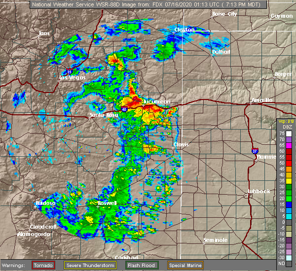 Radar Image for Severe Thunderstorms near Logan, NM at 7/15/2020 7:17 PM MDT