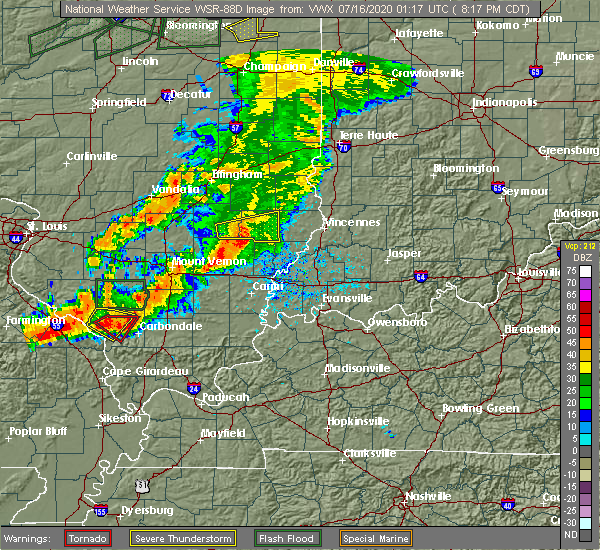 Radar Image for Severe Thunderstorms near Calhoun, IL at 7/15/2020 8:22 PM CDT