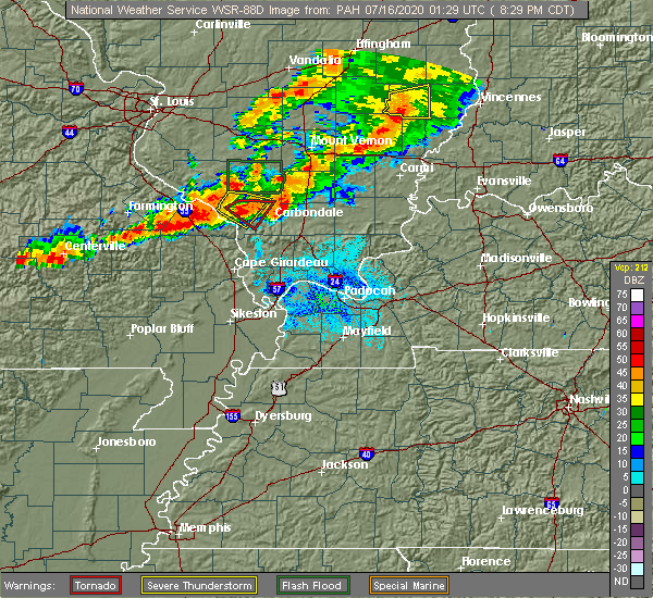 Radar Image for Severe Thunderstorms near Perryville, MO at 7/15/2020 8:35 PM CDT