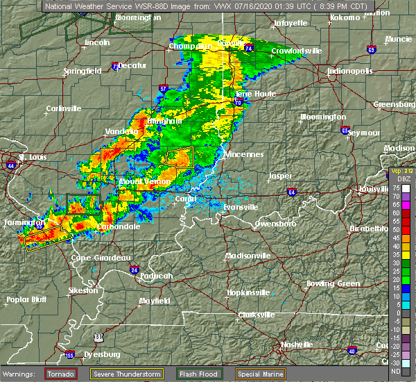 Radar Image for Severe Thunderstorms near Calhoun, IL at 7/15/2020 8:43 PM CDT