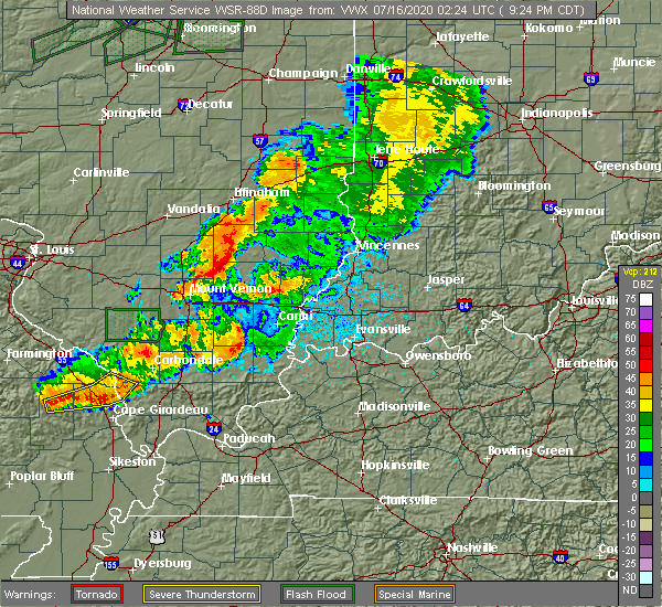 Radar Image for Severe Thunderstorms near Clay City, IL at 7/15/2020 9:29 PM CDT