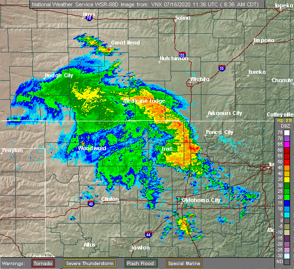 Radar Image for Severe Thunderstorms near Billings, OK at 7/16/2020 6:40 AM CDT