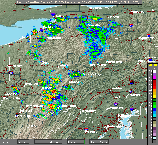 Radar Image for Severe Thunderstorms near Cassandra, PA at 7/16/2020 3:05 PM EDT