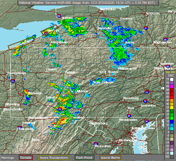 Radar Image for Severe Thunderstorms near Cassandra, PA at 7/16/2020 3:38 PM EDT