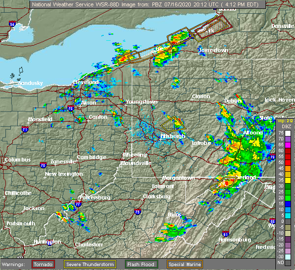 Radar Image for Severe Thunderstorms near Dayton, PA at 7/16/2020 4:15 PM EDT