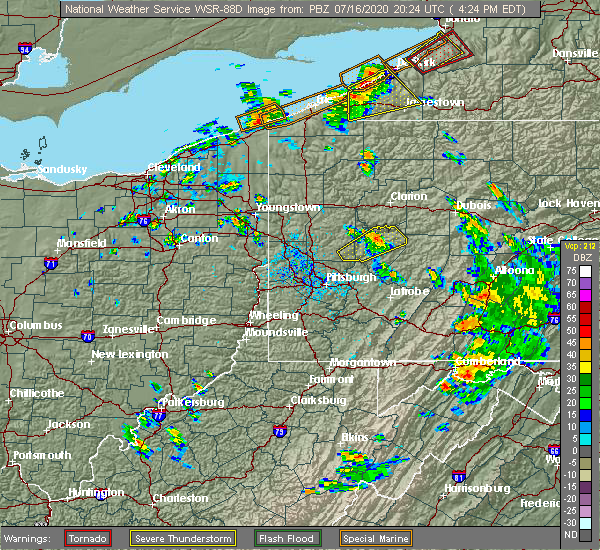Radar Image for Severe Thunderstorms near Dayton, PA at 7/16/2020 4:27 PM EDT