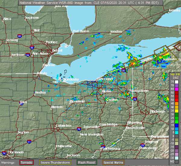 Radar Image for Severe Thunderstorms near Conneaut, OH at 7/16/2020 4:34 PM EDT