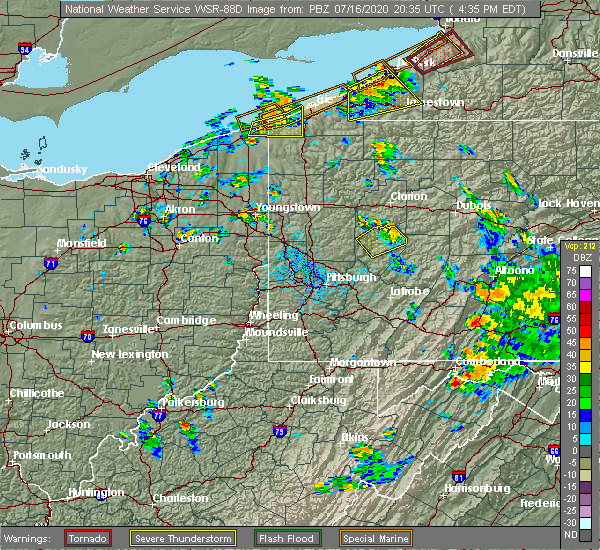Radar Image for Severe Thunderstorms near Dayton, PA at 7/16/2020 4:42 PM EDT