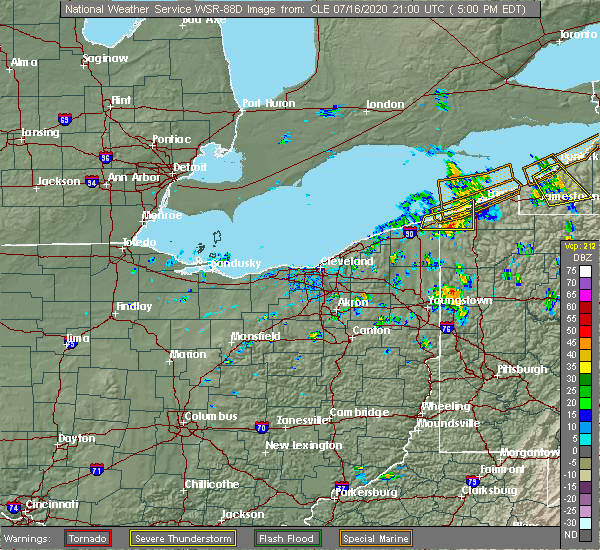 Radar Image for Severe Thunderstorms near Conneaut, OH at 7/16/2020 5:02 PM EDT