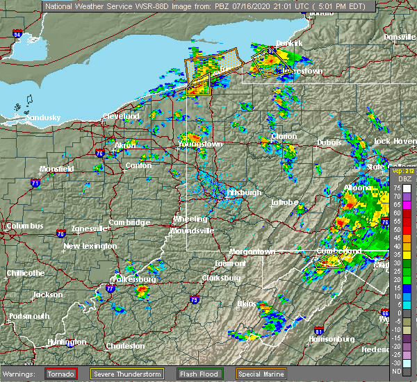 Radar Image for Severe Thunderstorms near Clark, PA at 7/16/2020 5:05 PM EDT