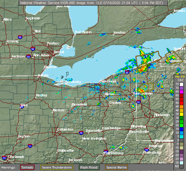 Radar Image for Severe Thunderstorms near Conneaut, OH at 7/16/2020 5:13 PM EDT