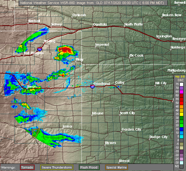 Radar Image for Severe Thunderstorms near Paoli, CO at 7/16/2020 6:05 PM MDT