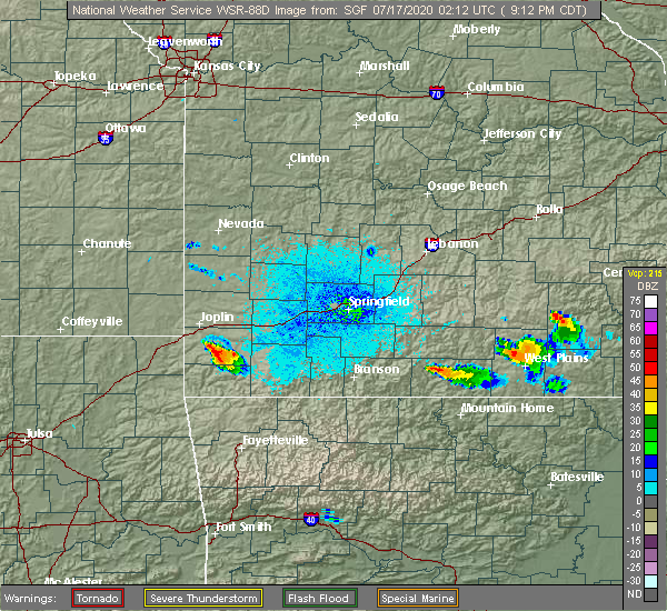 Radar Image for Severe Thunderstorms near Granby, MO at 7/16/2020 9:16 PM CDT