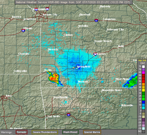 Radar Image for Severe Thunderstorms near Fairview, MO at 7/16/2020 10:29 PM CDT