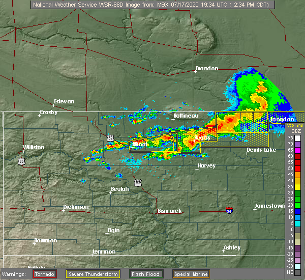 Radar Image for Severe Thunderstorms near Barton, ND at 7/17/2020 2:42 PM CDT