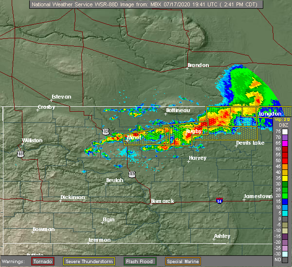 Radar Image for Severe Thunderstorms near Starkweather, ND at 7/17/2020 2:48 PM CDT