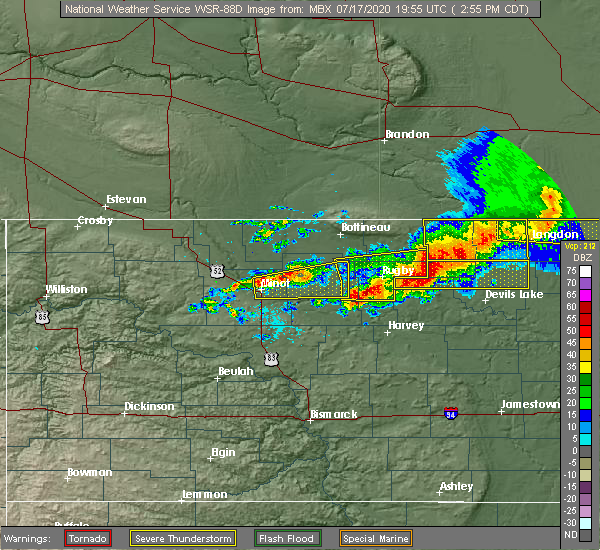 Radar Image for Severe Thunderstorms near Starkweather, ND at 7/17/2020 2:59 PM CDT