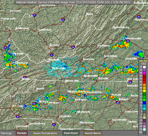 Radar Image for Severe Thunderstorms near Cooleemee, NC at 7/17/2020 4:04 PM EDT