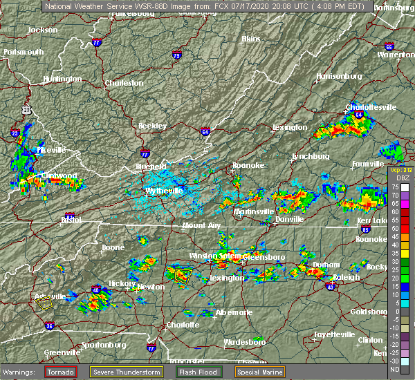 Radar Image for Severe Thunderstorms near Cooleemee, NC at 7/17/2020 4:17 PM EDT