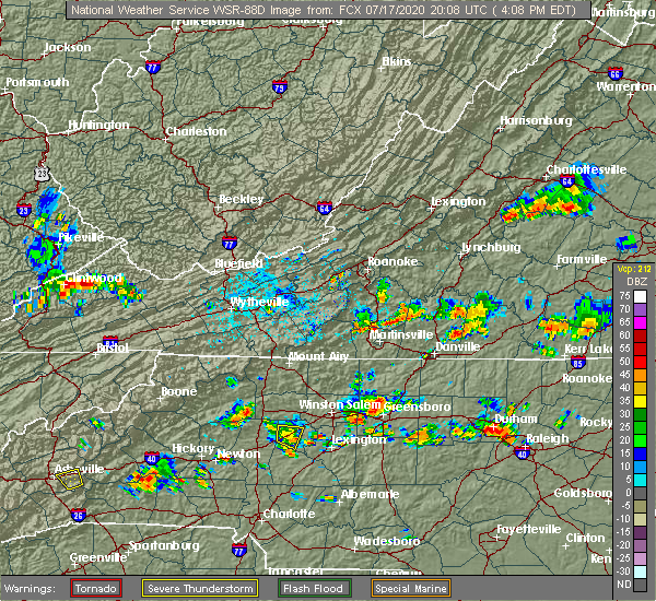 Radar Image for Severe Thunderstorms near Cooleemee, NC at 7/17/2020 4:24 PM EDT