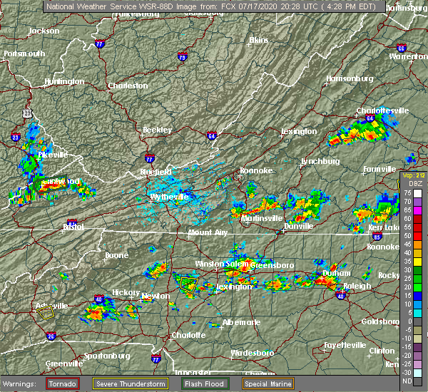 Radar Image for Severe Thunderstorms near Chatmoss, VA at 7/17/2020 4:33 PM EDT