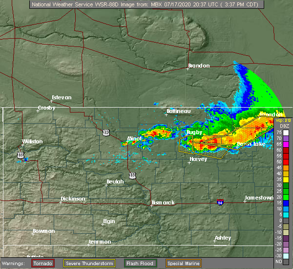 Radar Image for Severe Thunderstorms near Barton, ND at 7/17/2020 3:45 PM CDT