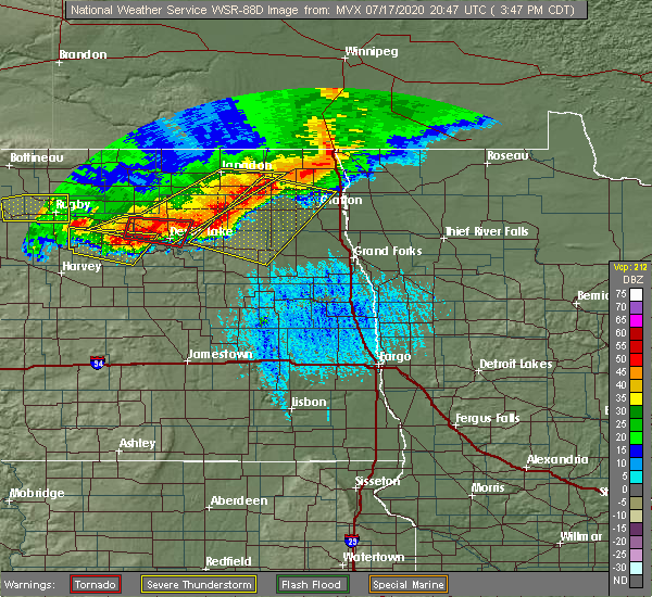 Radar Image for Severe Thunderstorms near Michigan City, ND at 7/17/2020 3:57 PM CDT