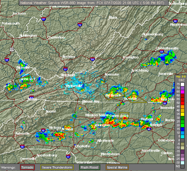 Radar Image for Severe Thunderstorms near Catawba, NC at 7/17/2020 5:10 PM EDT