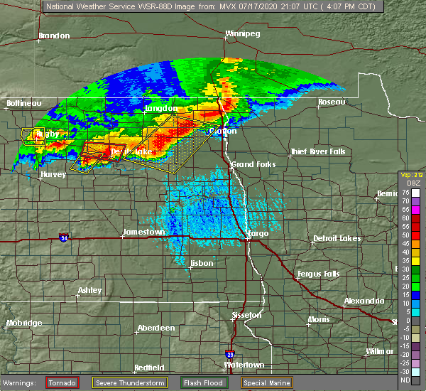 Radar Image for Severe Thunderstorms near Fort Totten, ND at 7/17/2020 4:12 PM CDT