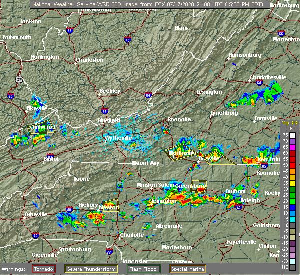 Radar Image for Severe Thunderstorms near Chatmoss, VA at 7/17/2020 5:12 PM EDT