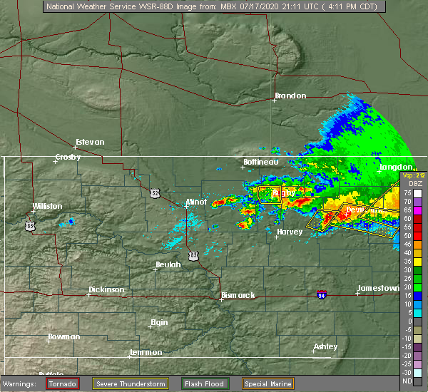 Radar Image for Severe Thunderstorms near Barton, ND at 7/17/2020 4:23 PM CDT